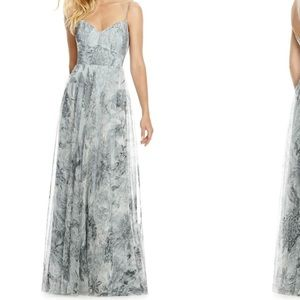 Beautiful Gray Floral Tulle Column Gown!